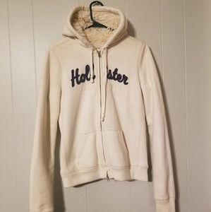 Hollister winter fur lined zip up hoodie jacket